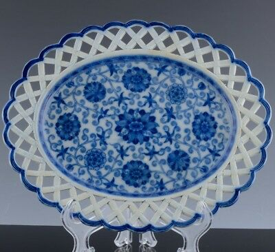 RAREc1800 BLUE WHITE FLORAL RETICULATED PEARLWARE POTTERY PLATTER TRAY ~ LEEDS