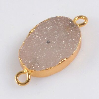 16x12mm Oval Natural Agate Druzy Geode Connector Gold Plated T071425