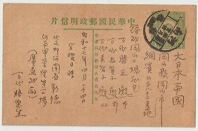 China postal history Stationery Post Card Cover Stamp Honan to Japan河南彰德 (安阳)