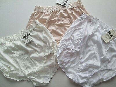NWT Lot ADONNA Size 7 Women's Panties White, Ivory & Antique White Granny Brief