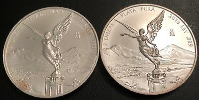 Lot Of 2 - 2018 2 Oz Silver Mexican Libertad - .999 Fine Silver - Toning