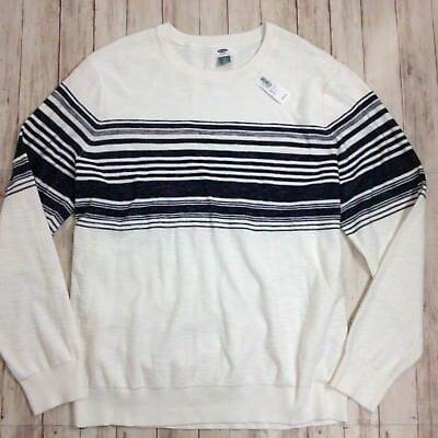 NWT Mens OLD NAVY White Navy Blue Striped Knit Pullover Sweater Crew Neck Sz XL