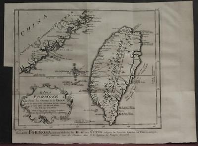 Taiwan 1757 Bellin/van Schley Unusual Antique Original Copper Engraved Map