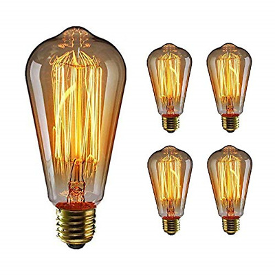WEDNA 4 Pack ST64 E27 Edison Screw Bulb, 60W 220V Vintage Light Antique Style