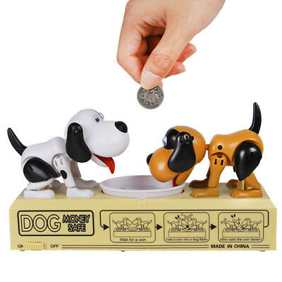 Double Hungry Dog Piggy Bank Coin Eating Munching Toy Creative Money Banks Gift