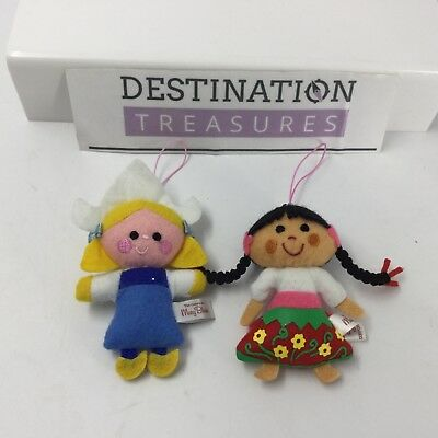 Disney Museum Mary Blair Cel Phone Charms or Ornaments Set 2 Small World Dolls