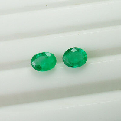 0.88 Ct - Natural Emerald Pair - Top Green Luster  Oval - Zambian Untreated
