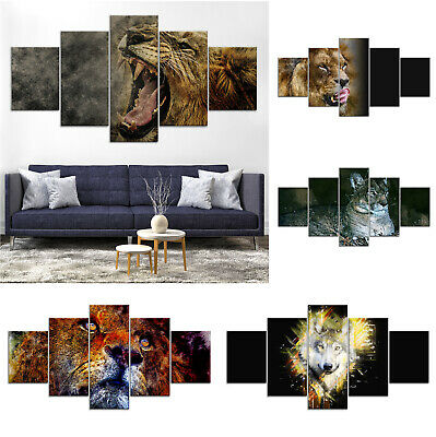 Lion Wolf Abstract Canvas Print Painting Framed Home Decor Wall Art Poster 5Pcs