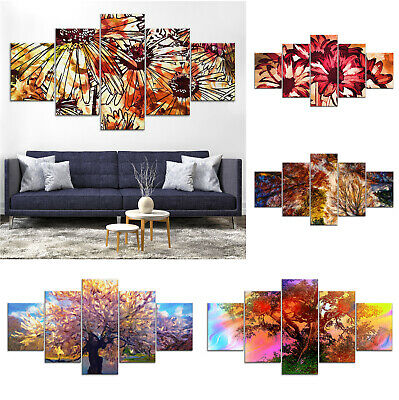 Tree Flowers Modern Abstract Canvas Print Painting Home Decor Wall Art Poster 5P