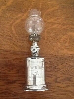 "Antique,Vintage Rare Chrome Small French oil lamp By ""Brulor""."
