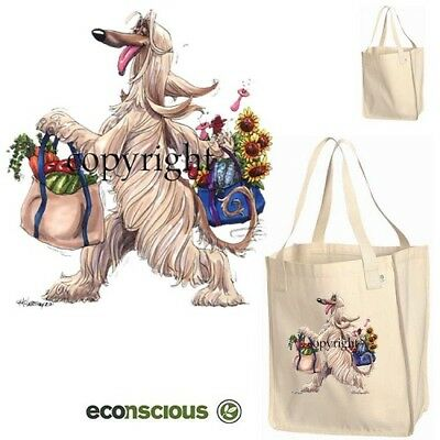 Afghan Hound Dog With Groceries Cartoon Econscious Market Grocery Tote Bag
