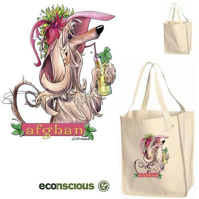 Afghan Hound Dog With Tropical Drink Cartoon Econscious Market Grocery Tote Bag