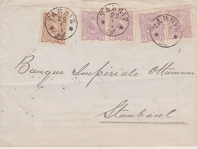 Persia-1899 12 ch on Tabriz letter cover to Stamboul, Ottoman Turkey