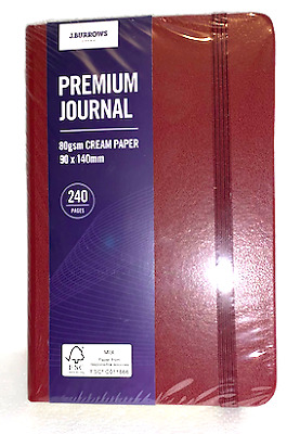 Premium Journal Cashier Notebook Diary Small  90mm x 140mm Red Cream Paper