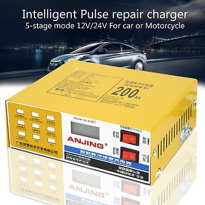 12v/24v Electric Pro 200ah Full Auto Intelligent Car Battery Kit Charger Repair