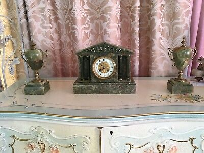 Green Marble Mantle Clock with  garniture - French Movement WBA & Fils