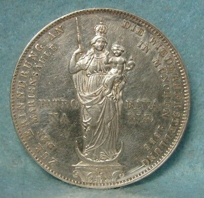 1855 Germany / Bavaria 2 Gulden Madonna Column World Silver Crown / Coin Au