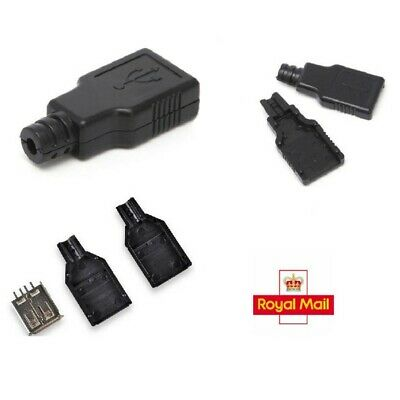 USB 2.0 Type-A Plug 4-pin Female Adapter Connector Jack & Cover X2