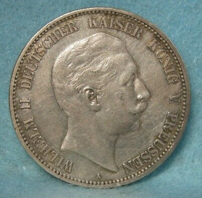 1901-A Germany / Prussia Wilhelm Ii 5 Mark World Silver Crown / Coin Xf