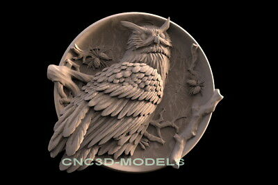 3D Model STL for CNC Router Engraver Carving Artcam Aspire Animal Owl f529