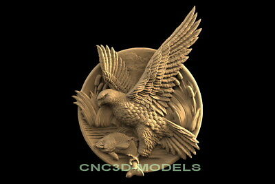 3D Model STL for CNC Router Carving Artcam Aspire Bird Animal Falco f643