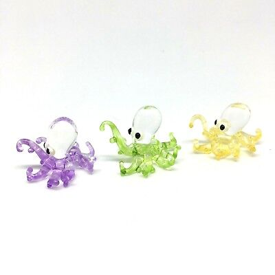 X3 Squid Octopus Tiny Blown Glass Animal Figurine Art Hand Made Collectible Sea