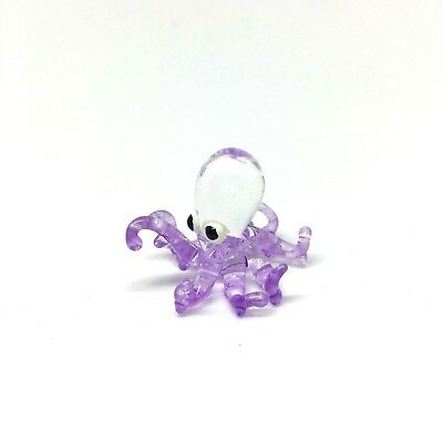 Squid Octopus Tiny Blown Glass Animal Figurine Art Hand Made Collectible Sea