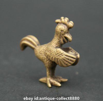 """1.6"""" Curio Chinese Bronze Animal Rooster Cock Auspicious Chicken Small Statue 公鸡"""