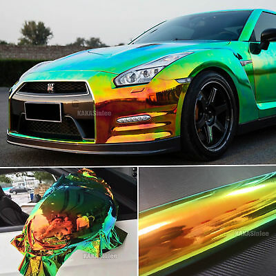 Black Hot Glossy Rainbow Magic Mirror Chameleon Chrome Car Vinyl Wrap Sticker AB