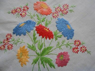 Beautiful Vintage Linen Hand Embroidered Tablecloth Ideal For Arts And Crafts