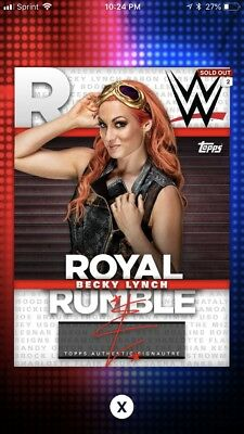 Topps WWE Slam 2018 Becky Lynch Royal Rumble Red Digital Signature Autograph