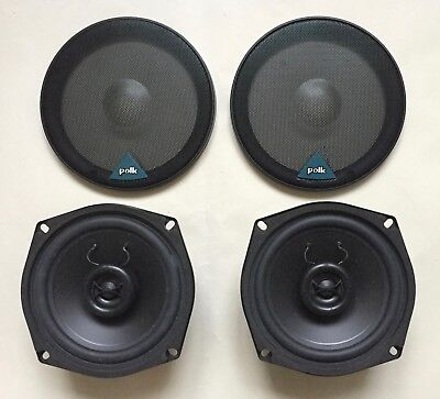 """Pair Of  (2) Polk EX 502A 5 1/4"""" Retro Coaxial Vehicle Speakers With Covers"""