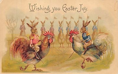 """Dressed """"Military"""" Bunny Rabbits Riding Roosters Easter Fantasy Postcard-a645"""