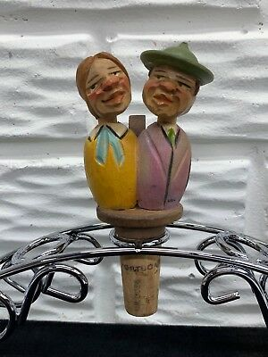 "Vintage ANRI Wooden 5""Kissing Couple Hand Carved Bottle Stopper Rare w/Green Hat"