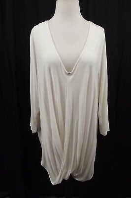 Lane Bryant Womens Plus 22/24 Cream Stretch 3/4 Sleeves Wrap Top Blouse Shirt