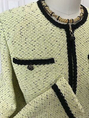 Nwot St John Collection By Marie Gray Lime Black Speck Front Zip Santana Jacket