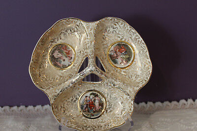 Empire England Gold Chintz 3 Part Divided Dish With Lady Figurines