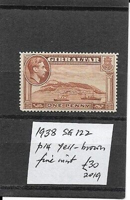 GIBRALTAR 1938 SG 122 perf 14 yellow brown fine mint/MH