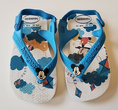 ad76cd325 Havaianas Toddler Boys Flip Flops 8C Euro 24 Mickey Mouse White Blue Sandals