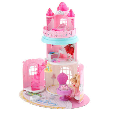 Portable Castle Doll House Pretend Play Toy Set with Furniture for Girls