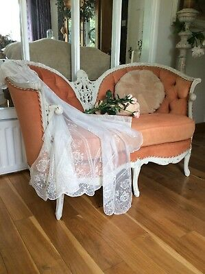 Antique French Decorative Boudoir Love Seat / Chaise Sofa~Country Chateau~1950's