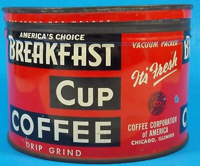 """Rare Antique  """"Breakfast Cup"""" Coffee Tin 1 Lb. Can"""