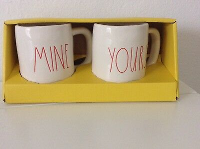 NEW!! RAE DUNN by MAGENTA YOURS AND MINE VALENTINES DAY MUG SET