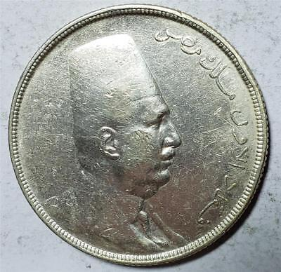 Egypt, 20 Piastres, 1923H, Very Fine, Cleaned, Rim Bumps, .7499 Ounce Silver
