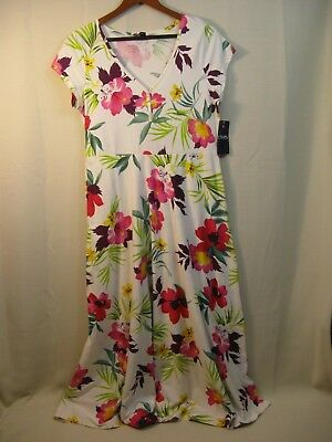 "Chaps "" Island Sun "" Off White & Pink Hibiscus Floral Short Sleeve Sun Dress"