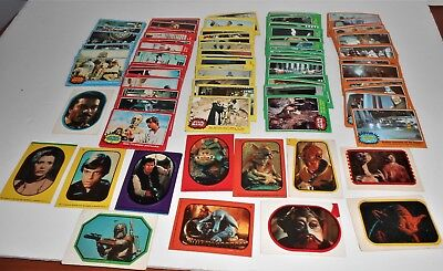 Lot 214 Original 1977 Star Wars Trading Cards No Dups + 12 Stickers 1983