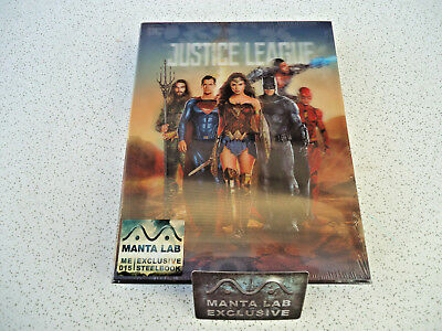 JUSTICE LEAGUE 3D BLU-RAY (MANTA LAB Exclusive Double Lenti Steelbook) NEW OOS