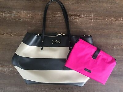 fa9a4c7f5460 Kate Spade Black/White/Hot Pink Striped Nylon Diaper Bag With Changing Pad