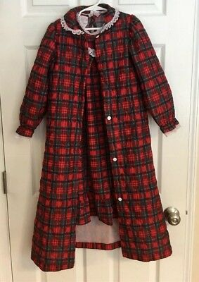 Vintage 80's Girls Plaid Cassie Nightgown And Robe Size 6 & 8