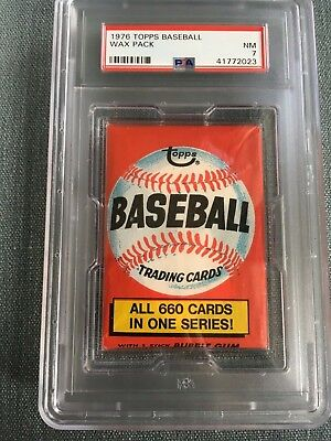 1976 Topps Baseball Unopened Wax Pack 660 Sports Locker Back PSA 7 Near Mint *23